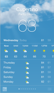 واجهة الاستخدام في تطبيق الطقس