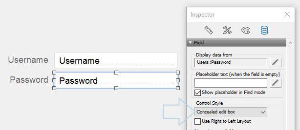FileMaker 15 Concealed Edit Box